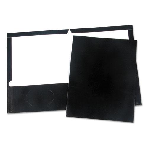 Laminated Two-Pocket Folder, Cardboard Paper, Black, 11 x 8 1/2, 25/Pack