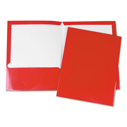 Laminated Two-Pocket Folder, Cardboard Paper, Red, 11 x 8 1/2, 25/Pack