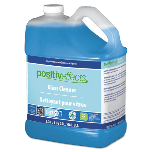 PositivEffects Glass Cleaner, Unscented, 1 gal Bottle, 4/Carton