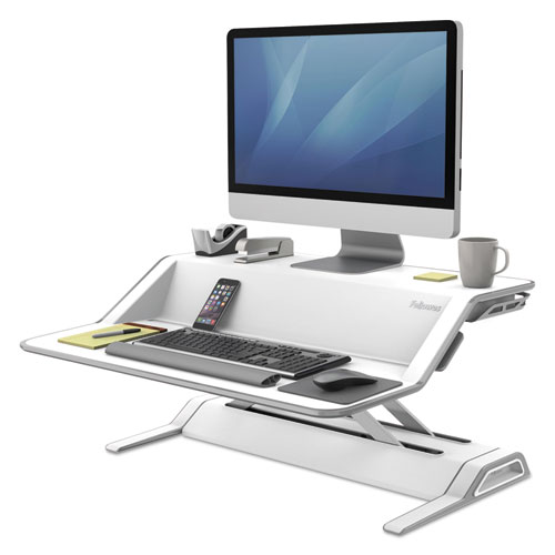 """Fellowes® Lotus Sit-Stands Workstation, 32.75"""" x 24.25"""" x 5.5"""" to 22.5"""", Black"""