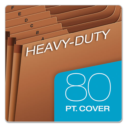 Heavy-Duty Expanding File, 21 Sections, 1/3-Cut Tab, Letter Size, Redrope