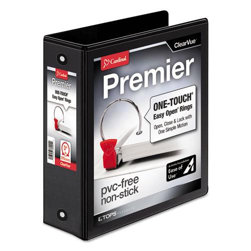 Premier Easy Open ClearVue Locking Round Ring Binder, 3 Rings, 3 Capacity, 11 x 8.5, Black