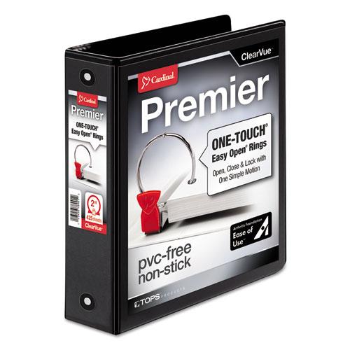 Premier Easy Open ClearVue Locking Round Ring Binder, 3 Rings, 2 Capacity, 11 x 8.5, Black