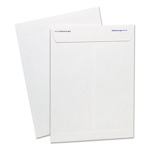 Gold Fibre Fastrip Release & Seal White Catalog Envelope, #10 1/2, Cheese Blade Flap, 9 x 12, White, 100/Box | by Plexsupply