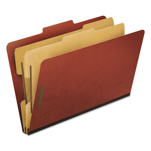 Four-, Six-, and Eight-Section Pressboard Classification Folders, 2 Dividers, Embedded Fasteners, Legal Size, Red, 10/Box | by Plexsupply