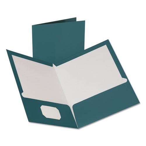 Two-Pocket Laminated Folder, 100-Sheet Capacity, Metallic Teal