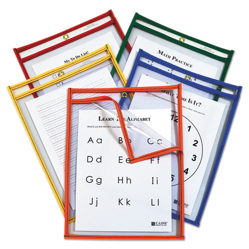 Reusable Dry Erase Pockets, Easy Load, 9 x 12, Assorted Primary Colors, 25/Pack