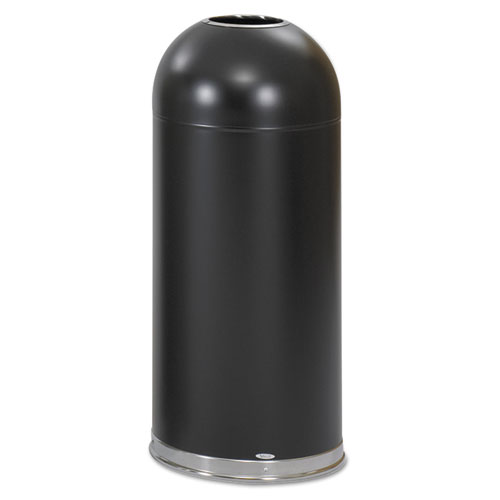 Safco® Open-Top Dome Receptacle, Round, Steel, 15 gal, Black