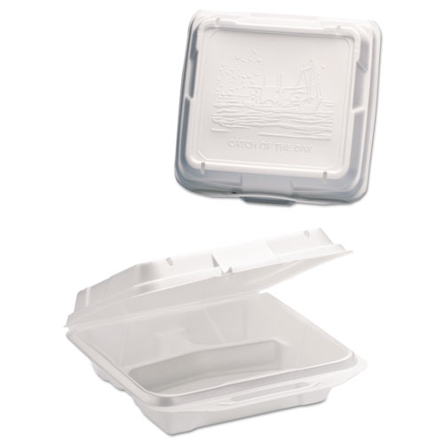 Genpak® Foam Hinged Carryout Container, 1-Compartment, 9-1/4x9-1/4x3, White, 100/Bag