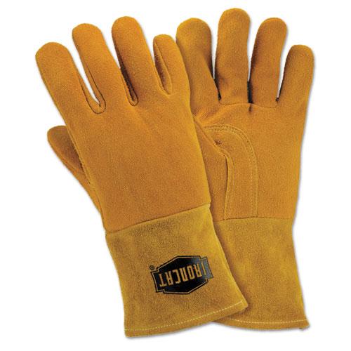 Insulated Top Grain Reverse Deerskin MIG Welding Gloves, Large, Orange/Tan
