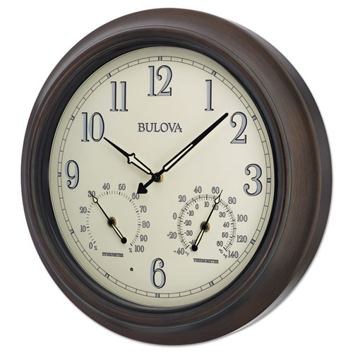 """Weather Master Wall Clock, 18"""" Diameter, Oil Rubbed Bronze"""