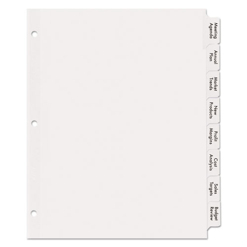 Print apply clear label dividers w white tabs 8 tab for Avery easy apply 5 tab template