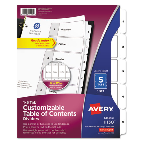 Avery 11130 ready index customizable table of contents for Avery index tabs template