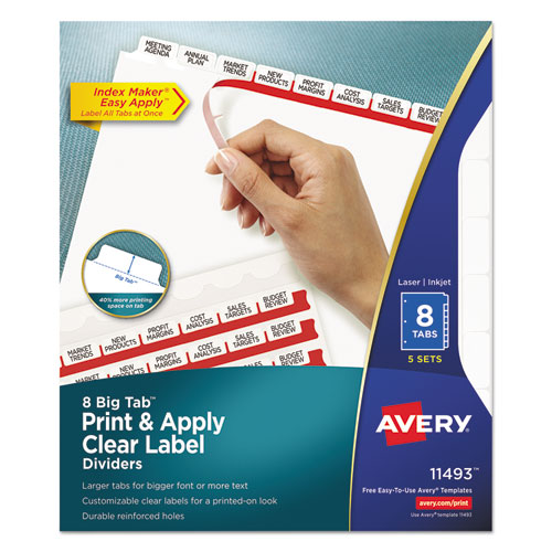Avery print apply clear label dividers w white tabs 8 for Avery 8 tab clear label dividers template