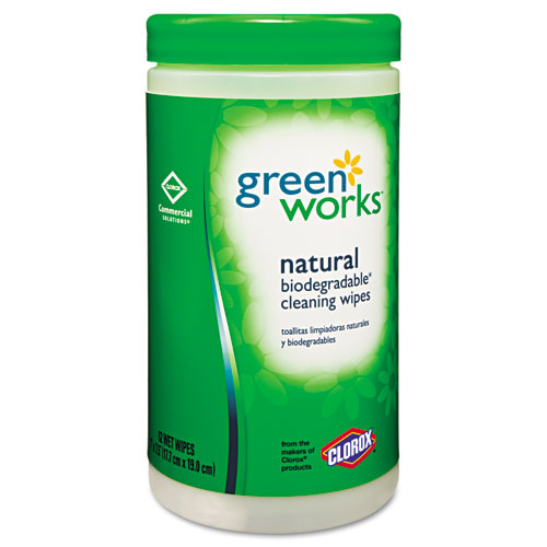 Compostable Cleaning Wipes, 7 x 7 1/2, Original Scent, 62/Canister, 6/Carton 30380CT