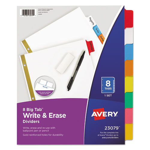 Write & Erase Big Tab Paper Dividers, 8-Tab, Multicolor, Letter | by Plexsupply