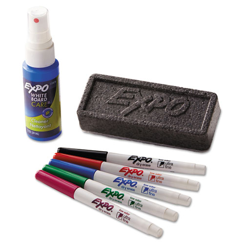 Low-Odor Dry Erase Marker Starter Set, Extra-Fine Needle