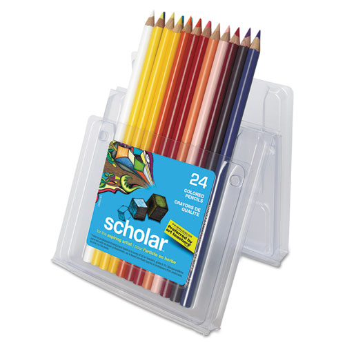 Scholar Colored Pencil Set, 3 mm, 2B (#2), Assorted Lead/Barrel Colors, 24/Pack | by Plexsupply