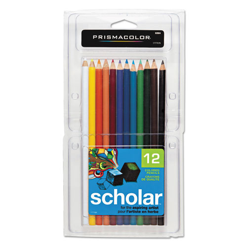 Scholar Colored Pencil Set, 3 mm, 2B (#2), Assorted Lead/Barrel Colors, Dozen | by Plexsupply