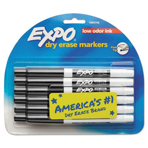 Low-Odor Dry-Erase Marker, Fine Bullet Tip, Black, Dozen | by Plexsupply