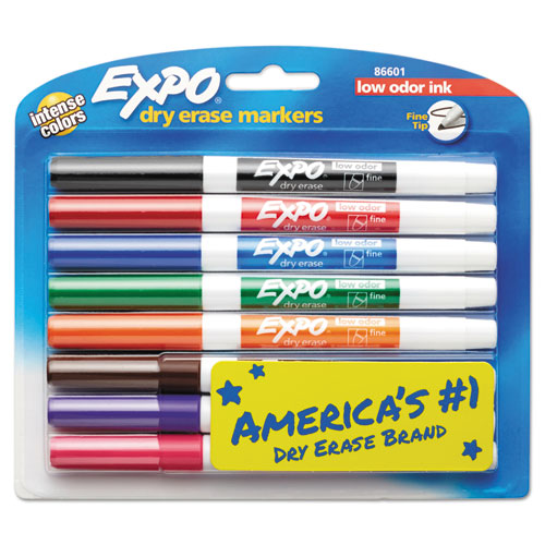 EXPO® Low-Odor Dry-Erase Marker, Fine Bullet Tip, Assorted Colors, 8/Set