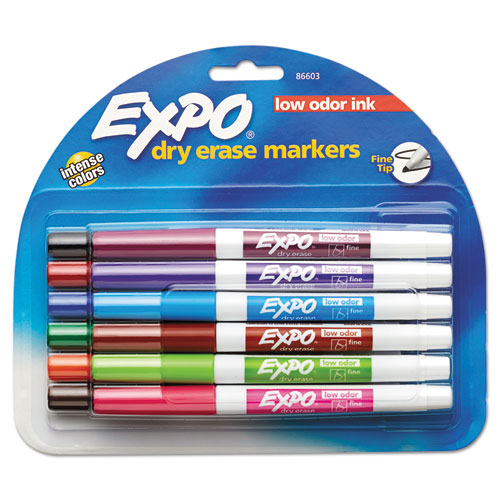 Low-Odor Dry-Erase Marker, Fine Bullet Tip, Assorted Colors, 12/Set | by Plexsupply