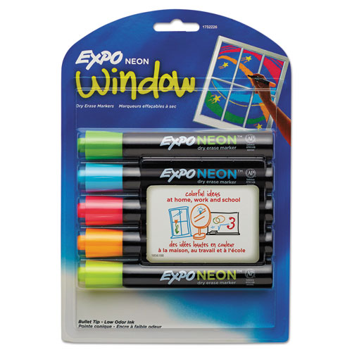 Neon Windows Dry Erase Marker, Broad Bullet Tip, Assorted Colors, 5/Pack | by Plexsupply