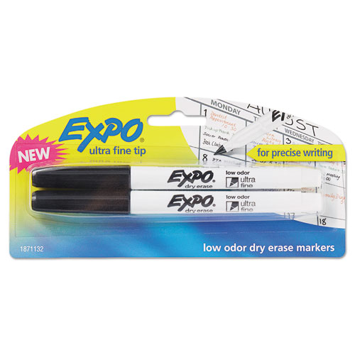 EXPO® Low-Odor Dry-Erase Marker, Extra-Fine Needle Tip, Black, 2/Pack