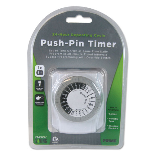 Push-Pin Timer, 1 Outlet, 15 Amps, White TNI2412