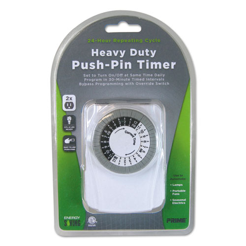 PRIME® Heavy Duty Push-Pin Timer, 2 Outlets, 15 Amps, White