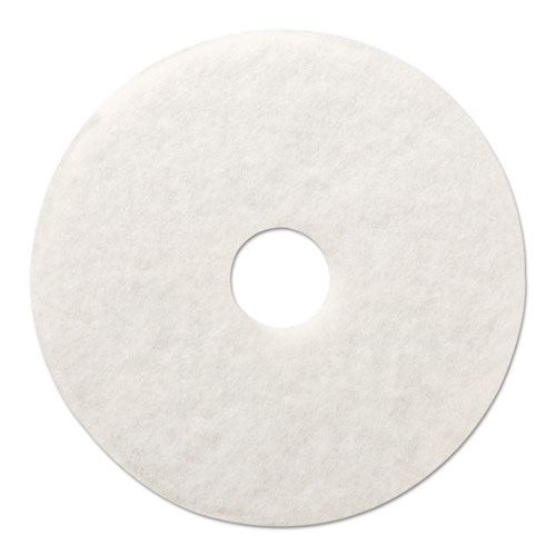 "Boardwalk® Polishing Floor Pads, 20"" Diameter, White, 5/Carton"