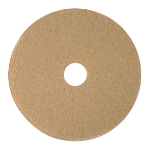 "Tan Burnishing Floor Pads, 19"" Diameter, 5/Carton | by Plexsupply"