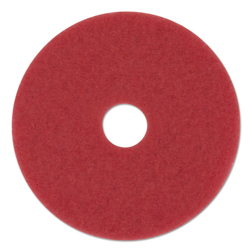 "Buffing Floor Pads, 12"" Diameter, Red, 5/Carton 