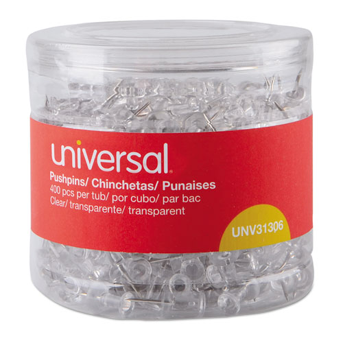 "Universal® Clear Push Pins, Plastic, 3/8"", 400/Pack"