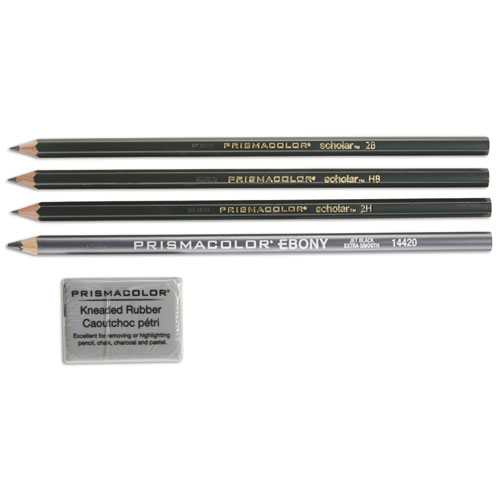 Scholar Graphite Pencil Set, 2 mm, Assorted Lead Hardness Ratings, Black Lead, Dark Green Barrel, 4/Set | by Plexsupply