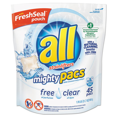 All® Mighty Pacs Free and Clear Super Concentrated Laundry Detergent, 45/Pack