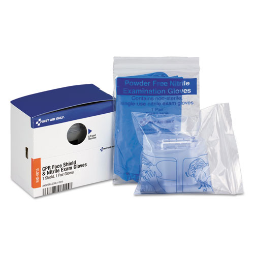First Aid Only™ SmartCompliance Rescue Breather Face Shield with 2 Nitrile Exam Gloves