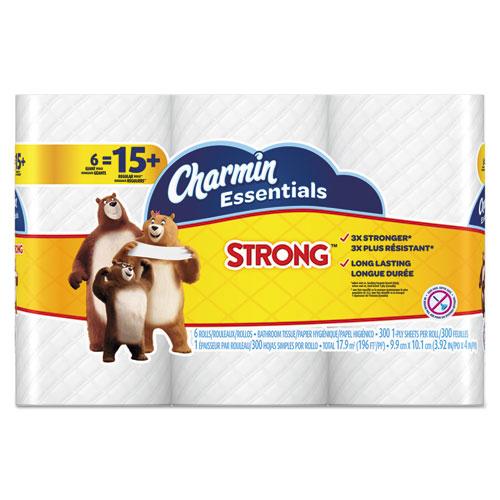Charmin® Essentials Strong Bathroom Tissue, 1-Ply, 4 x 3.92, 300/Roll, 6 Rl/Pk, 8 Pk/Ctn