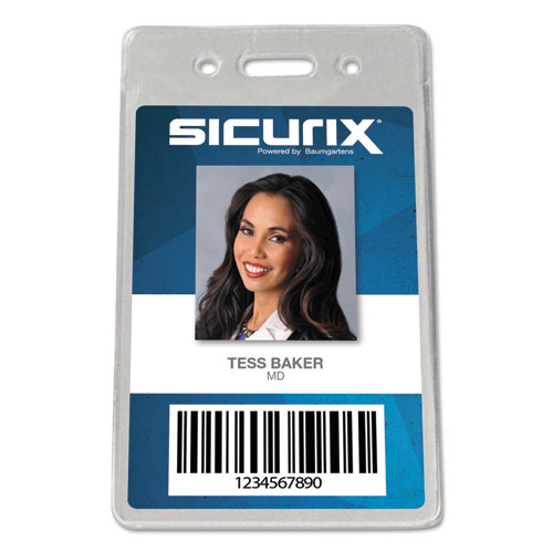 Sicurix Proximity Badge Holder, Vertical, 2 1/2w x 4 1/2h, Clear, 50/Pack | by Plexsupply