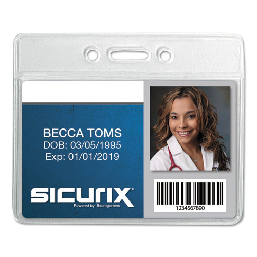 Sicurix Badge Holder, Horizontal, 2 1/8 x 3 3/8, Clear, 12/Pack | by Plexsupply
