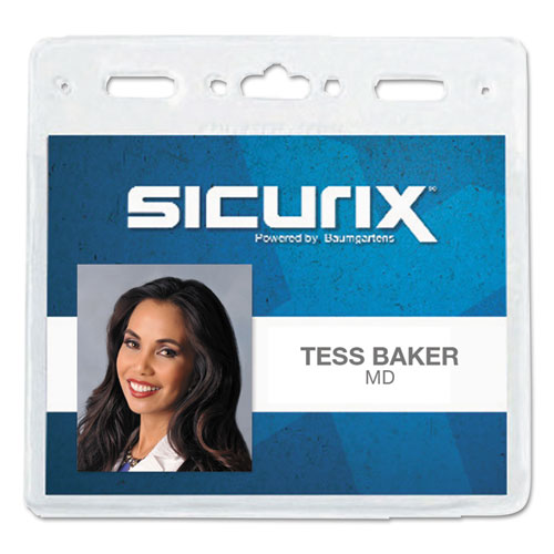 Sicurix Vinyl Badge Holder, 4 x 3, Clear, 50/Pack | by Plexsupply
