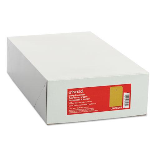 Kraft Clasp Envelope, #90, Square Flap, Clasp/Gummed Closure, 9 x 12, Brown Kraft, 100/Box
