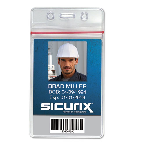 Sicurix Sealable Cardholder, Vertical, 2 5/8 x 3 3/4, Clear, 50/Pack | by Plexsupply