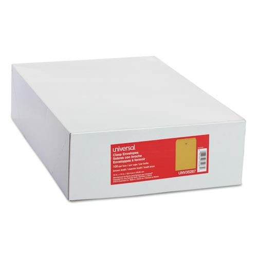Kraft Clasp Envelope, #97, Squar Flap, Clasp/Gummed Closure, 10 x 13, Brown Kraft, 100/Box