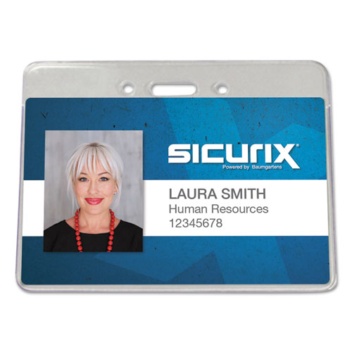 Sicurix Proximity Badge Holder, Horizontal, 4w x 3h, Clear, 50/Pack | by Plexsupply