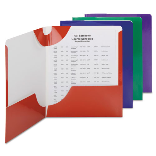 High Gloss Lockit Two-Pocket Folder, 11 x 8 1/2, Assorted, 8/Pack