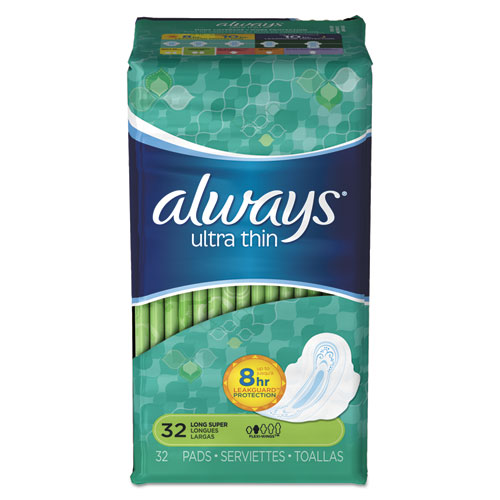 Ultra Thin Pads with Wings, Super Long, 32/Pack, 6/Carton