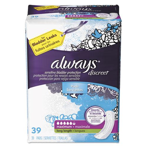 Always® Discreet Sensitive Bladder Protection Pads, Maximum, Extra Long, 39/Pk,3Pk/Ctn