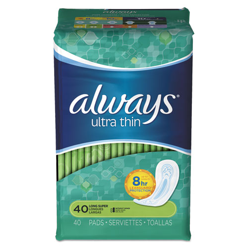 Ultra Thin Pads, Super Long, 40/Pack, 6 Pack/Carton