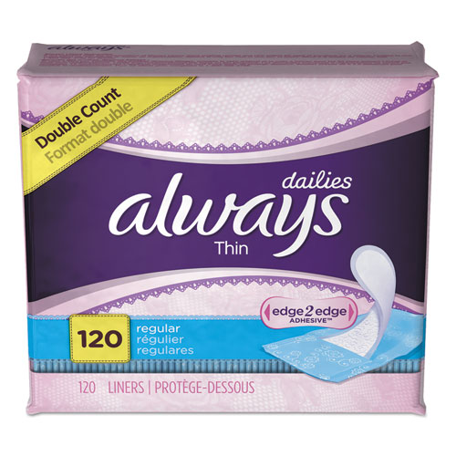 Always® Thin Daily Panty Liners, Regular, 20/Pack, 24 Packs/Carton